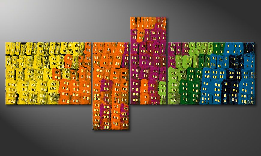 Canvas painting Crazy Town 200x90x2cm