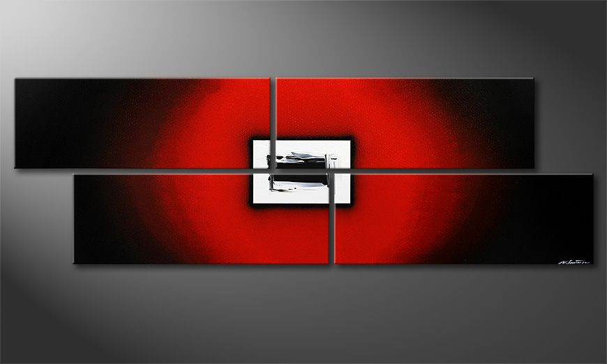 Extralarge modern painting Lost Red in 245x80x2cm