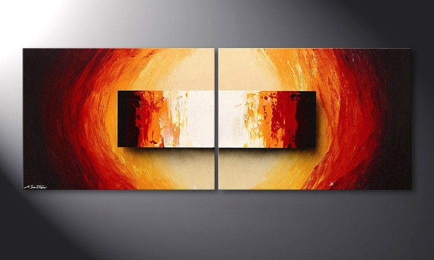 Framed Painting Liquid Fire 160x60x2cm