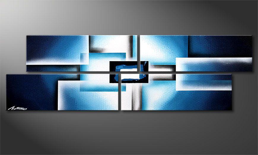 Framed painting Polar Glow 130x40x2cm