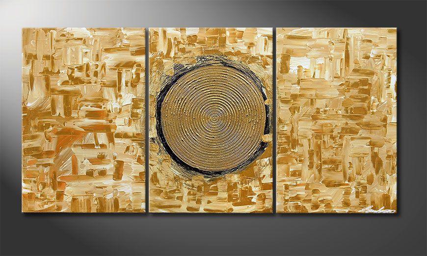 Hand-painted painting Golden Sun 120x60x2cm