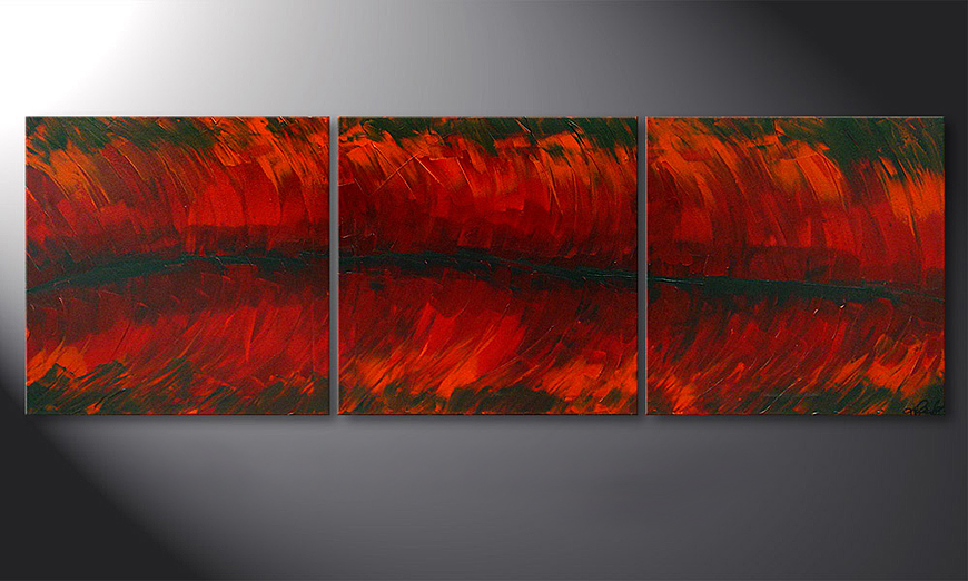 Hand-painted painting Riven Red 180x60x2cm