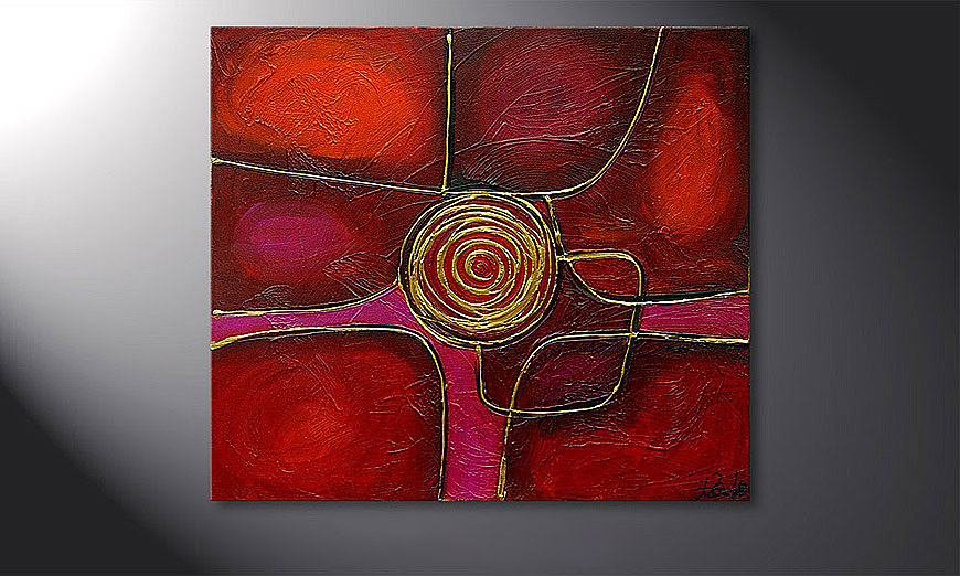 Hand-painted painting Spinning Gold 80x70x2cm