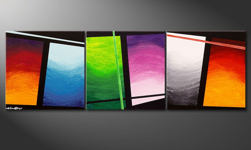 Hand painted picture Wave of Colors 150x50x2cm