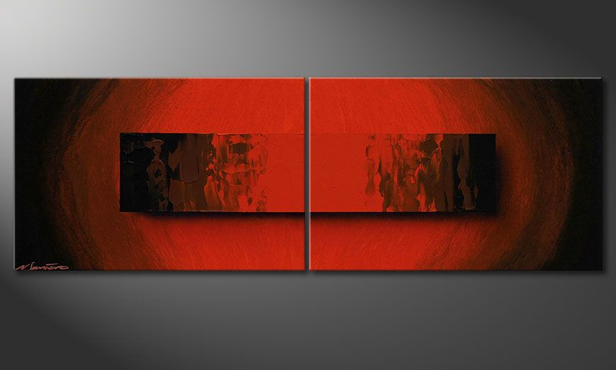 Handy made acrylic painting Glowing Red 120x40x2cm