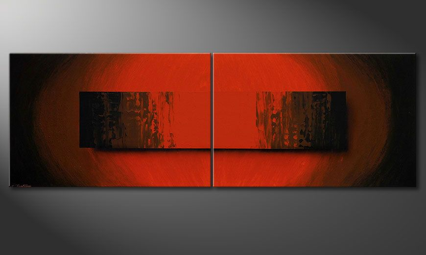 Large scale modern painting Glowing Red 240x80x2cm