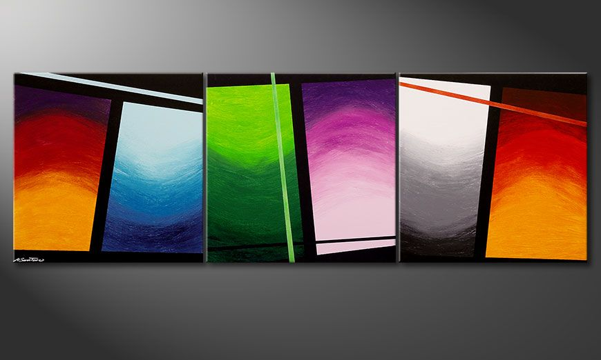 Large scale painting Wave of Colors 240x80x2cm