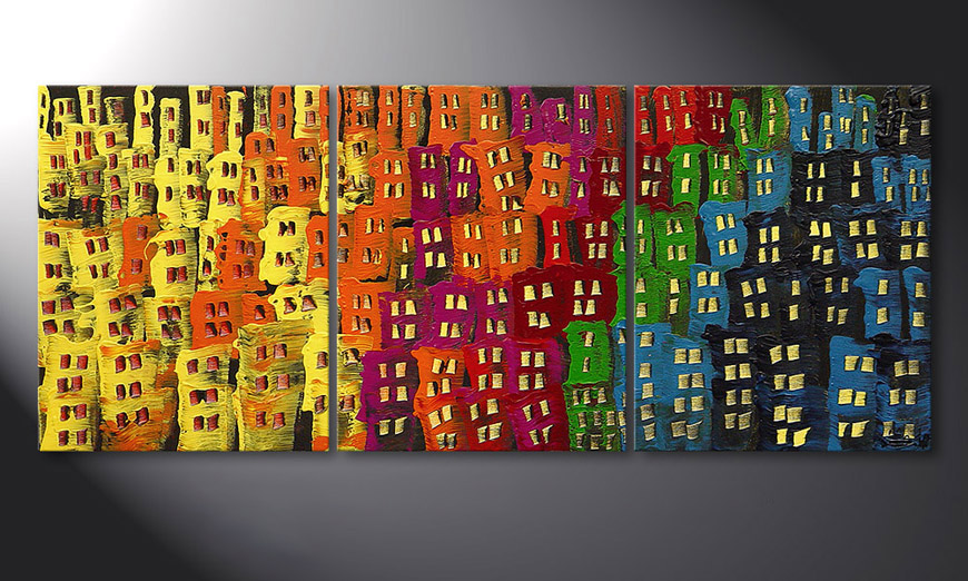 Living room art Afterglowing City in 120x50x2cm
