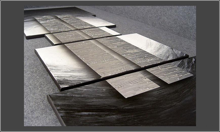 Living Room Art Silver Blocs 200x70cm
