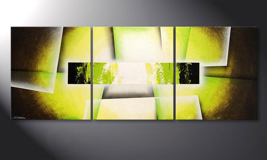 Living room painting Broken Green 180x70x2cm