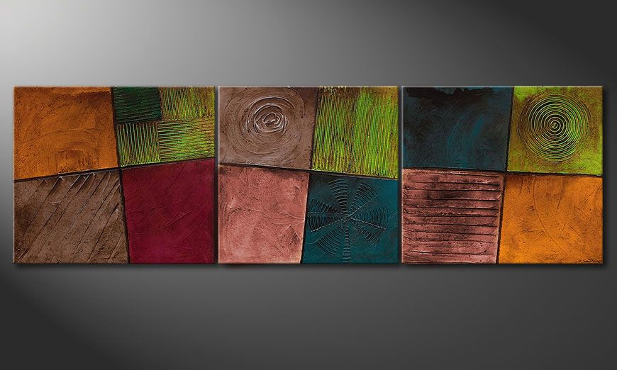 Living room painting Facets of Life 260x80x2cm
