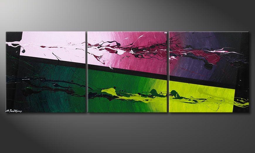 Modern Acrylic painting Tropic Splash 150x50x2cm