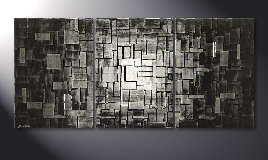Modern Painting Moon Cubes 150x70x2cm
