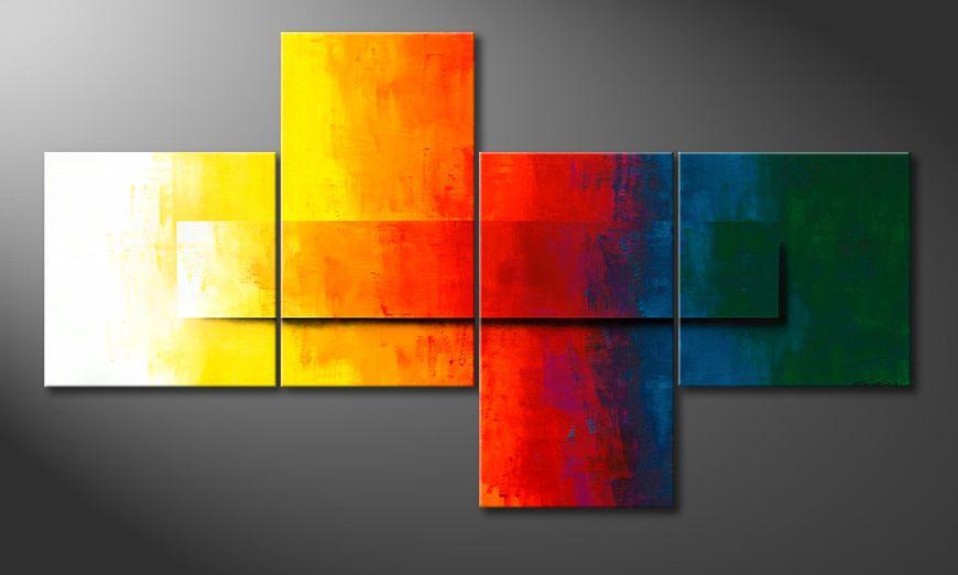 Modern XXL painting Rainbow Colors 220x120x2cm