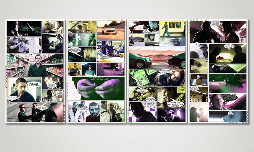 Modern art print Drive in 160x70x2cm