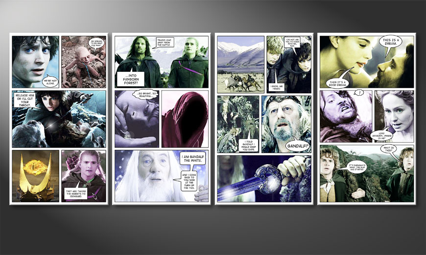 Modern art print Lord of the rings I 160x70x2cm