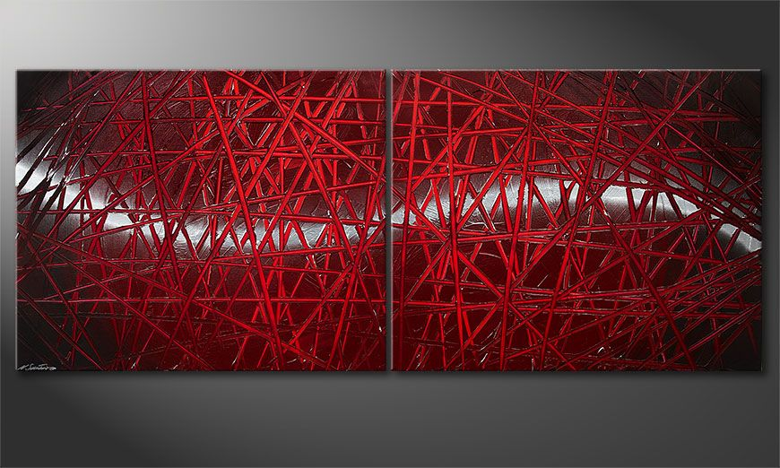 Modern painting Red Push 200x80x2cm