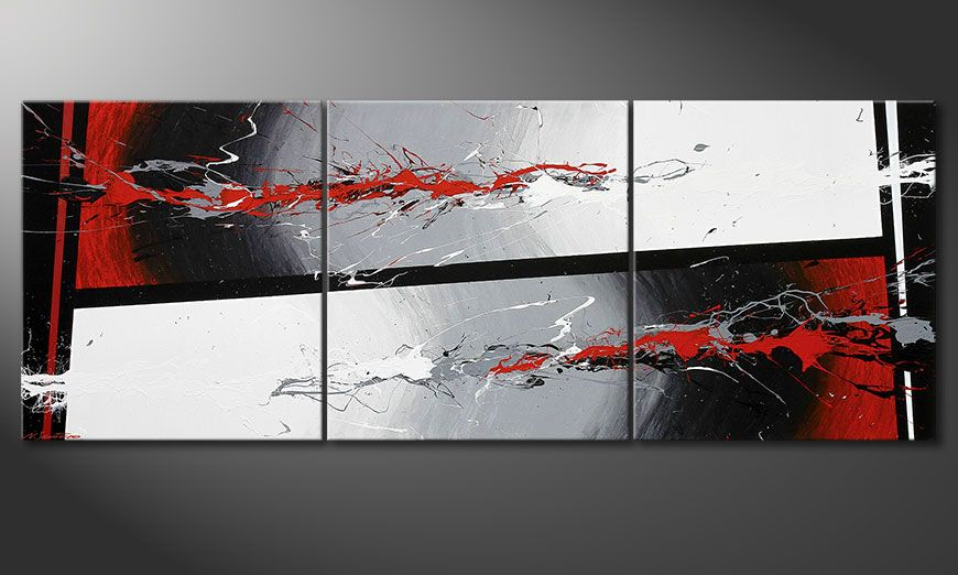 Multiframed painting Powerful Contrast 240x90x2cm