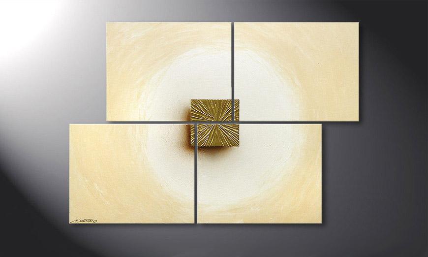 Painting Golden Cube 115x80x2cm