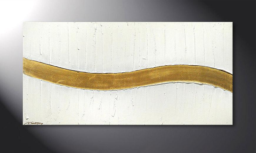 Painting Golden Wave 120x60x2cm