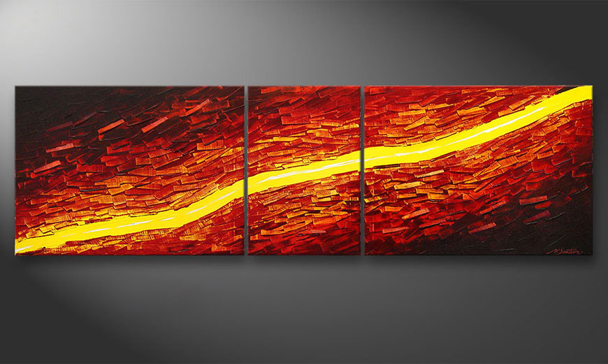 Painting Lava Stream in 200x60x2cm