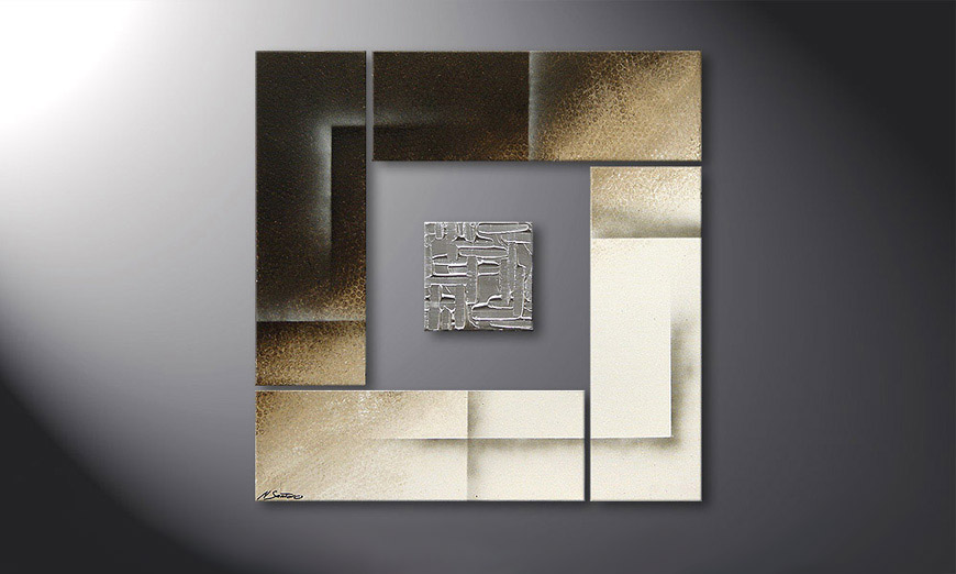 Painting Silver Cube in 80x80x2cm