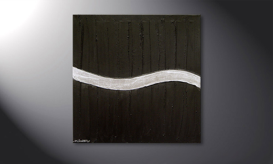 Painting Silver Wave in 80x80x2cm