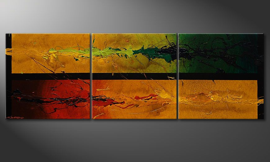 Textured painting Blowing Elements 150x50x2cm