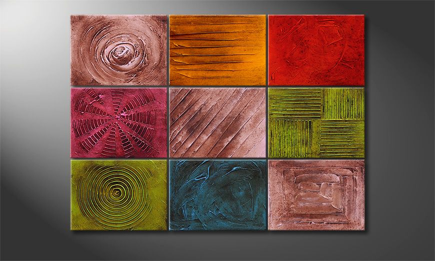 Textured painting Playful Moments 120x90x2cm
