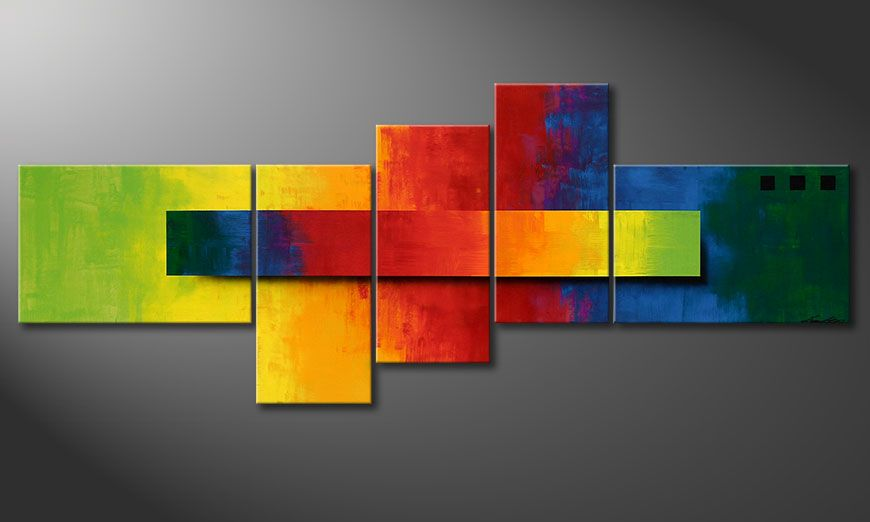 Vivid wall decoration: Facets of a Rainbow 160x60x2cm