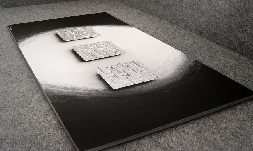 XXL painting Cubes of Silver 140x70x2cm