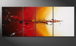 Modern Painting<br>'Fiery Splash' 170x70cm