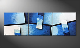 Canvas painting 'Blue Stacks' 210x70cm