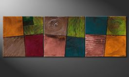 Canvas painting 'Facets of Life' 210x70cm