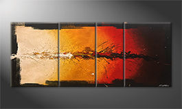 Canvas painting 'Fiery Moment' 170x70cm