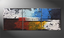 Canvas painting 'Fire And Ice' 180x70cm