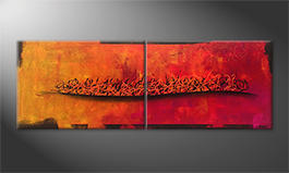 Canvas painting 'Fire Wave' 200x70cm