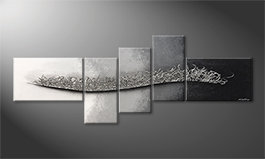 Canvas painting 'Flowing Silver' 210x80cm