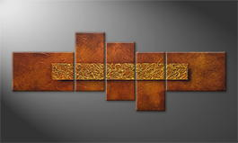 Canvas painting 'Golden Cage' 210x80cm