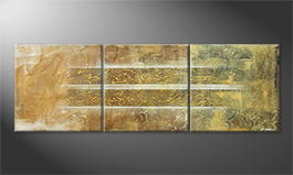Canvas painting 'Golden Easiness' 210x70cm