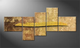 Canvas painting 'Golden Night' 240x110cm