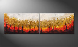 Canvas painting 'Golden Trees' 200x60cm