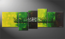 Canvas painting 'Green Night' 190x70cm