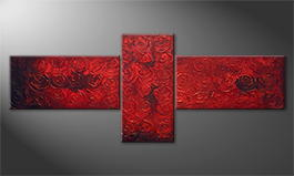 Canvas painting 'Midnight Roses' 250x100cm