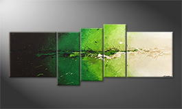 Canvas painting 'Powerful Green' 210x80cm