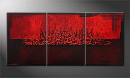 Canvas painting 'Red Night' 150x70cm