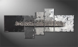 Canvas painting 'Silver Grey' 210x90cm