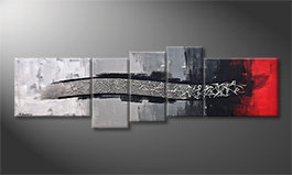 Canvas painting 'Silver Melody' 210x70cm