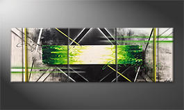 Canvas painting 'Vision Of Green' 200x70cm