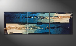 Canvas painting 'Water Push' 240x80cm